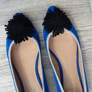 Anthropologie blue pointed toe flats black pom pom